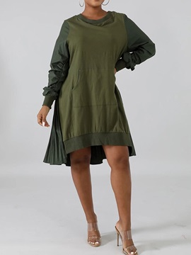 Long Sleeve Asymmetric Round Neck Pullover Plain Women's Dress