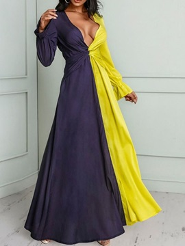 V-Neck Floor-Length Long Sleeve Flare Sleeve Pullover Women's Dress