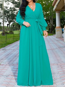 V-Neck Floor-Length Long Sleeve Pullover High Waist Women's Dress