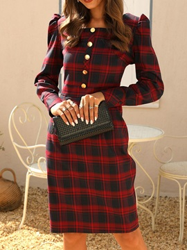 Knee-Length Square Neck Long Sleeve Pullover Mid Waist Women's Dress