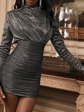 Pleated Above Knee Long Sleeve Mid Waist Date Night/Going Out Women's Dress