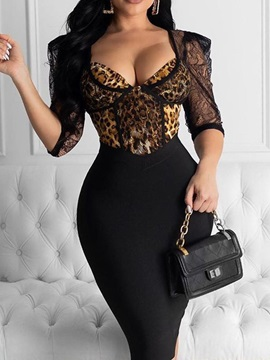 Mid-Calf Print Half Sleeve Leopard Regular Women's Dress