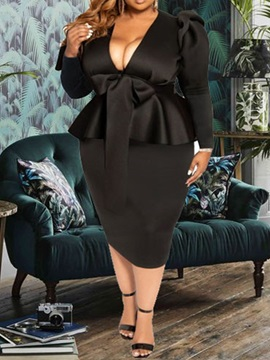 Mid-Calf Long Sleeve V-Neck Pullover Plus Size Women's Dress