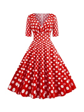 V-Neck Mid-Calf Short Sleeve Style Polka Dots Pullover Women's Dress