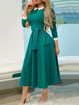 Mid-Calf Three-Quarter Sleeve Style Peter Pan Collar Sweet Pullover Women's Dress