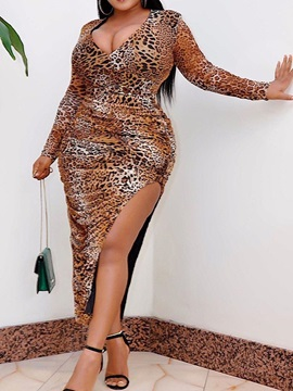 Plus Size V-Neck Style Print Long Sleeve High Waist Leopard Women's Dress