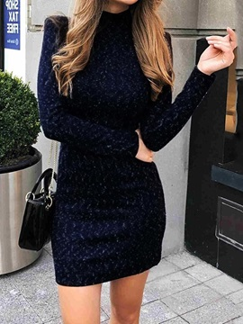 Stand Collar Long Sleeve Above Knee Date Night/Going Out Plain Women's Dress