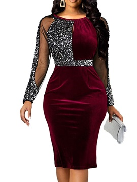 Sequins Long Sleeve Round Neck Pullover Women's Dress