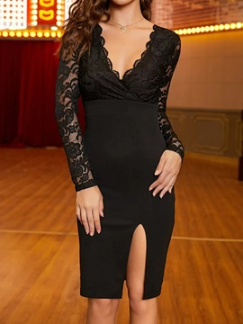 V-Neck Long Sleeve Knee-Length Bodycon Party/Cocktail Women's Dress