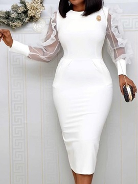 Long Sleeve Mid-Calf Mesh Fall Pencil Women's Dress