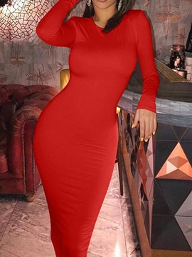 Long Sleeve Mid-Calf Round Neck Date Night/Going Out Pullover Women's Dress