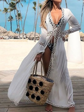 Hollow Long Sleeve Floor-Length Plain Beach Look Women's Dress
