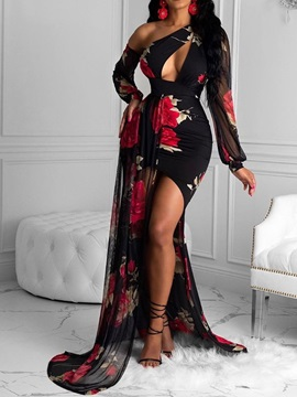 Floor-Length Asymmetric Long Sleeve Lantern Sleeve Floral Women's Dress