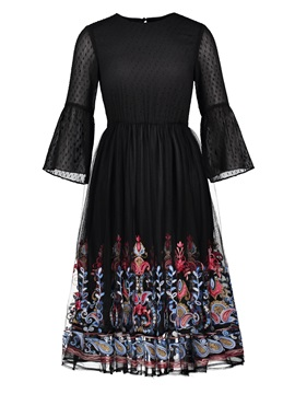 Patchwork Long Sleeve Round Neck Floral Regular Women's Dress