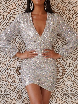 Above Knee Long Sleeve Sequins Bodycon Mid Waist Women's Dress