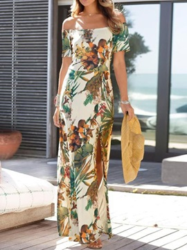 Split Short Sleeve Floor-Length Regular Summer Women's Dress