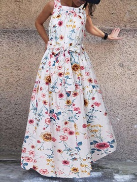 Square Neck Print Floor-Length Sweet A-Line Women's Dress