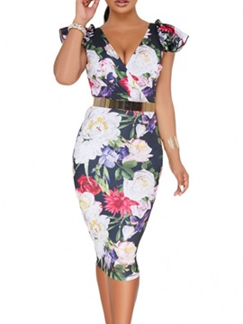 V-Neck Mid-Calf Print Pullover Floral Women's Dress
