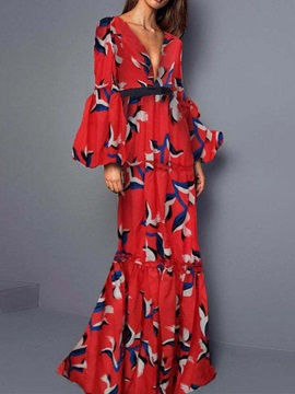 Print Long Sleeve Floor-Length Lantern Sleeve Party/Cocktail Women's Dress