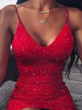 Sequins Above Knee V-Neck Spaghetti Strap Summer Women's Dress