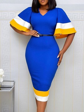 V-Neck Mid-Calf Patchwork Color Block Bodycon Women's Dress