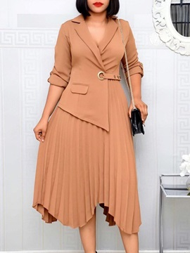 Mid-Calf Pleated Notched Lapel Office Lady Regular Women's Dress
