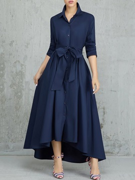 Asymmetric Three-Quarter Sleeve Floor-Length Sweet Regular Women's Dress