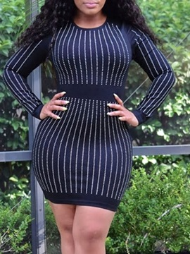 Above Knee Long Sleeve Round Neck Stripe Pullover Women's Dress