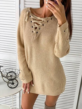 Above Knee Long Sleeve Lace-Up Pullover Straight Women's Dress