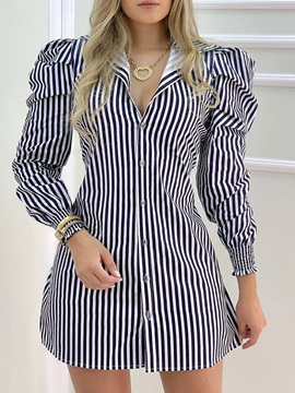 Nine Points Sleeve Lapel Pleated Fall Date Night/Going Out Women's Dress