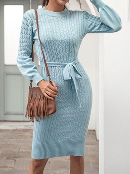 Lace-Up Long Sleeve Round Neck Sweet Plain Women's Dress