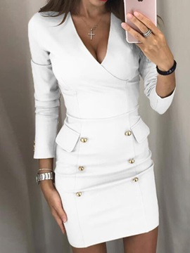 Long Sleeve Above Knee Button Pullover Bodycon Women's Dress