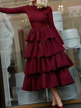 Christmas Mid-Calf Long Sleeve Pleated Sweet Pullover Women's Dress