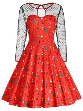 Christmas Print Mid-Calf Long Sleeve Party/Cocktail Pullover Women's Dress