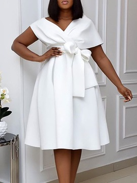Mid-Calf V-Neck Short Sleeve Pullover Dress Women's Dress