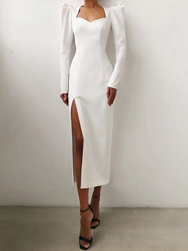 Square Neck Long Sleeve Split High Waist Fashion Women's Dress
