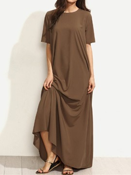 Floor-Length Pocket Short Sleeve Plain Pullover Women's Dress