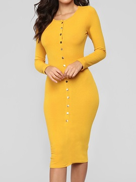 Long Sleeve Mid-Calf Round Neck Bodycon Spring Women's Dress