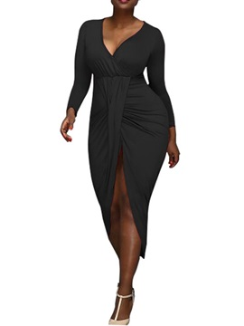 Mid-Calf Nine Points Sleeve V-Neck Asymmetrical Sexy Women's Dress