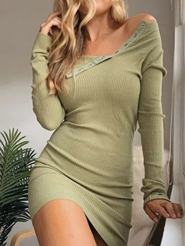 Above Knee Button Long Sleeve Bodycon Plain Women's Dress