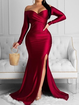 Split Floor-Length V-Neck Fashion Plain Women's Dress