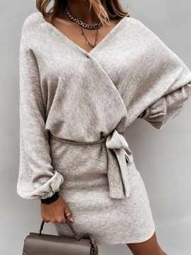 Lace-Up Above Knee V-Neck Fall Pullover Women's Dress