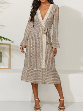 Mid-Calf Lace-Up Long Sleeve Lace-Up Color Block Women's Dress