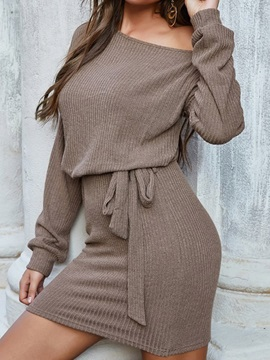 Lace-Up Long Sleeve Above Knee Pullover Plain Women's Dress