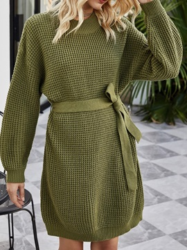 Above Knee Round Neck Lace-Up Plain Fall Women's Sweater Dress