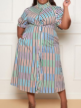 Plus Size Button Mid-Calf Three-Quarter Sleeve Single-Breasted Fall Women's Dress
