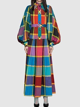 Ankle-Length Lapel Button Fall Plaid Women's Dress