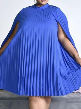 Plus Size Pleated Knee-Length Long Sleeve Pullover Plain Women's Dress