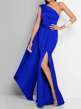 Sleeveless Split Floor-Length Ladylike Bodycon Women's Dress