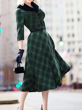 Button Three-Quarter Sleeve Mid-Calf Plaid A-Line Women's Dress